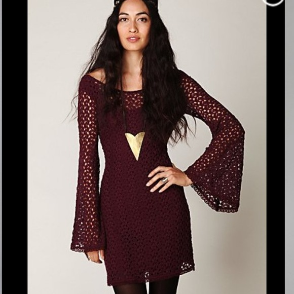 a399bcb8932d Free People Dresses & Skirts - TRADED!Free People Black Crochet Bell Sleeve  Dress