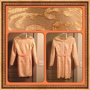 Champagne Long Sleeve Lace  Scalloped Hem Dress