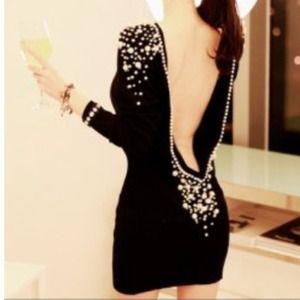 Dresses & Skirts - Pearl Embellished Backless Long Sleeve Black Dress