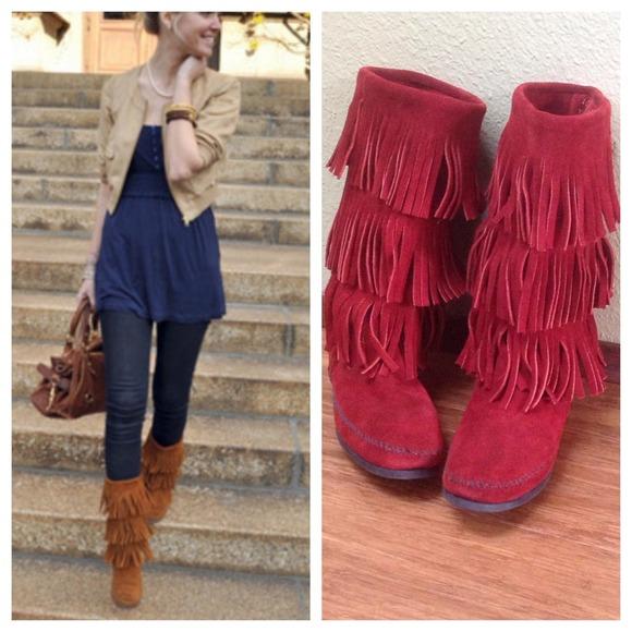Minnetonka - Hard to find Minnetonka fringe leather boots from ...