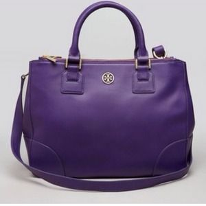 Tory Burch Robinson Double Zip Tote Purple