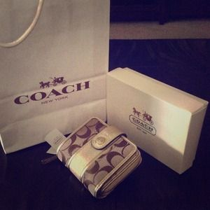 COACH signature stripe slim medium wallet