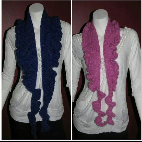 bellissima handmade crochet ruffle scarves from