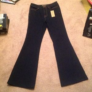 "Dark four way Lycra high-rise 22"" bell Jbrand jean"