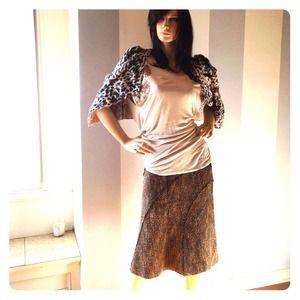 Zara tweed skirt in brown tones.