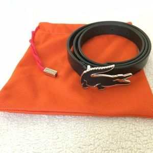 Lacoste Accessories - LACOSTE 💗 BLACK LEATHER BELT