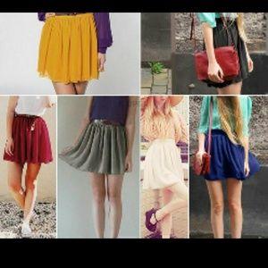 Double layer chiffon hw pleated skirt