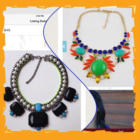 Jewelry - Pearl neon green & lucite stone necklace & orange