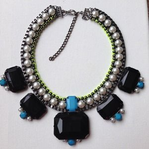 Jewelry - Pearl neon green & lucite stone necklace & orange 2