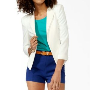 Textured Coated Lapel Blazer