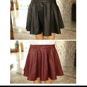 A line pleated faux leather skater skirt