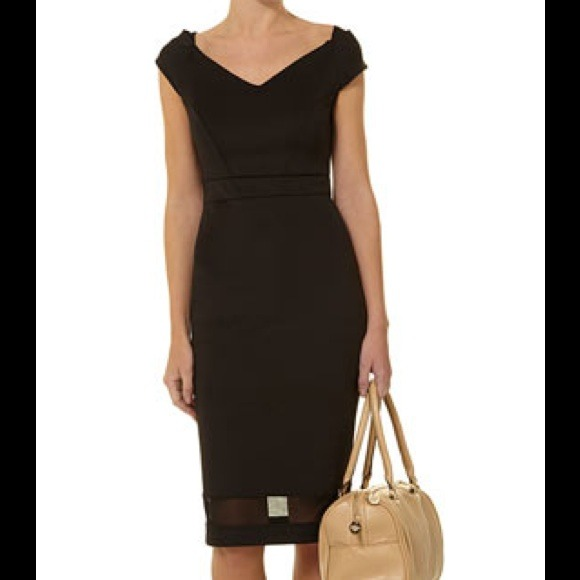 Dorothy Perkins Dresses - Dorothy Perkins Black Bardot Cocktail Sheer Dress