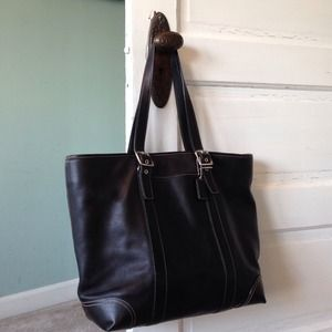 Coach Handbags - Authentic Coach Black Stitch Leather Tote