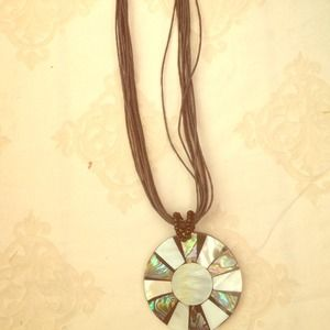 handmade Jewelry - Cool abalone and mother of pearl pendant