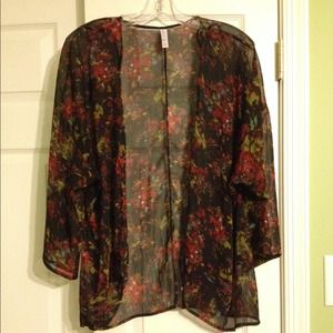 Sheer Floral Open Front Jacket