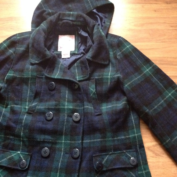 90% off Duckhead Outerwear - Blue and green plaid pea coat with ...