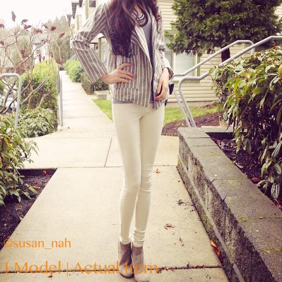 Jackets & Blazers - Grey Strip linen casual boyfriend blazer/jacket