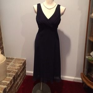Adrianna Papell Navy Chiffon Cocktail Dress