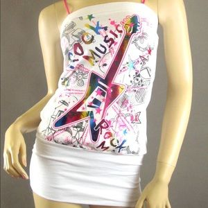 Tops - White Colorful rainbow foil rock music tank top