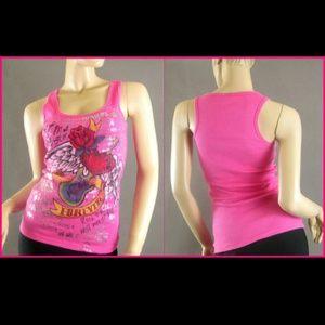 Tops - Hot Pink rose foil tattoo printed tank top