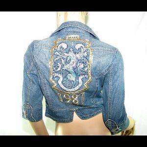 Jackets & Blazers - Denim blue jean embellished crop jacket