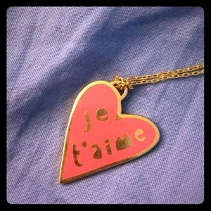 "Yellow Owl Workshop ""je t'aime"" necklace"