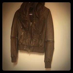 Allsaints Brown Hooded Leather Jacket