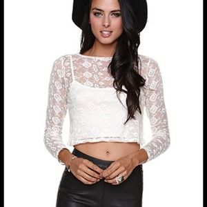 White Lace Long Sleeved Crop Top