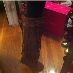 Shoedazzle Boots - Fringe Wedge Boots