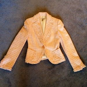 Zara Jackets & Blazers - 🎉HP🎉Zara Basic Peaches & Cream Tweed Blazer
