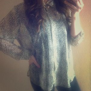 Vintage oversized 80s leopard sheer tunic top S-L