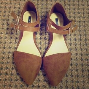 Asymmetrical faux suede and leather flats