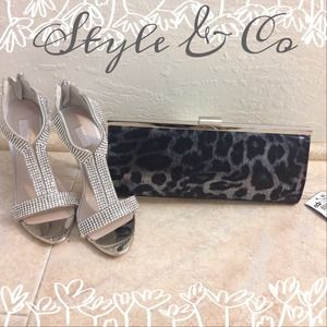 SALE✨✨ Style & Co animal print metallic clutch