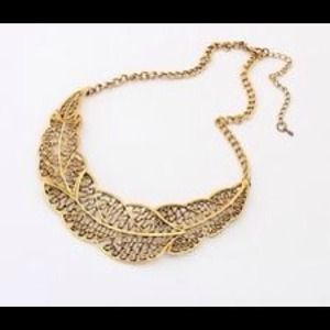 Bronze leaf collar bib necklace