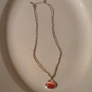 Silvertone Necklace with Pink Stone