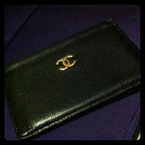 Chanel classic leather card case holder; preloved.