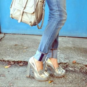 Topshop Shoes - Silver Metallic Platforms