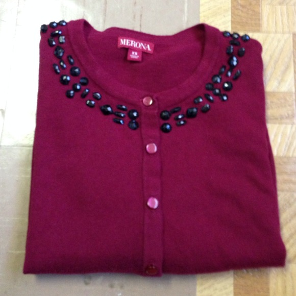 40% off Sweaters - Dark red embellished sweater from Salene's ...