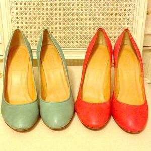 J.Crew Leather Pumps in Brick and Mint SZ 8.5