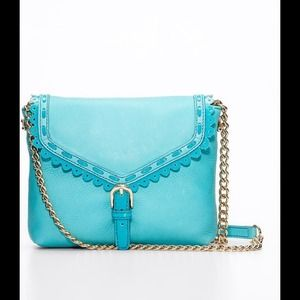 Blue Leather Crossbody