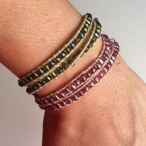 2 Hemp Bead Wrap Bracelets