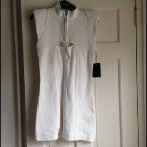 L.A.M.B ivory dress/top w/padded shoulders