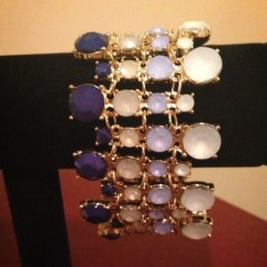 NEW Unique Bejeweled Blue & Gold Fashion Bracelet