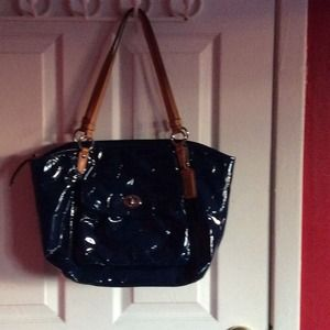 Coach signature patent leather tote