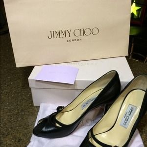 Jimmy Choo black open totes heels