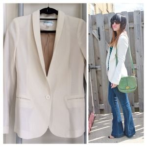 Pim + Larkin winter white shawl collar blazer