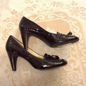 "FRANCO SARTO  Fabulous Brown Leather 3"" Pumps"
