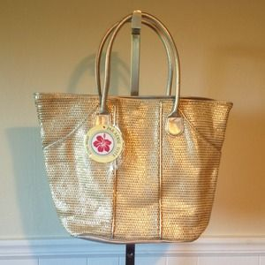 Handbags - NEW Gold & Silver Straw Tote