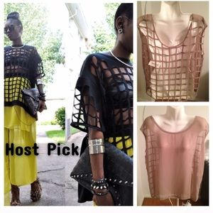 Cage Back Sheer Top SZ L NWT!
