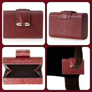 CC SKYE Handbags - Bullet Hard Clutch/Burgundy Python. Price Firm